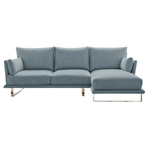 Eleanor Chaise Sofa, Wedgewood, 3-Seater Right Hand Facing