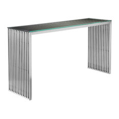 Lux Console Silver Brushed Metal
