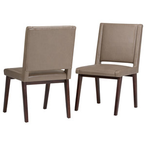 Draper Mid Century Bonded Leather Dining Chair, Ash Blonde, Set of 2