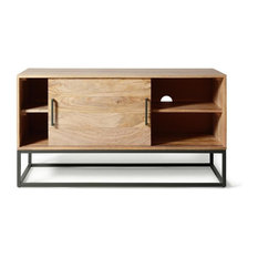 Brikk - Ashton Industrial Metal and Wood Media Cabinet - Entertainment Centers and Tv Stands