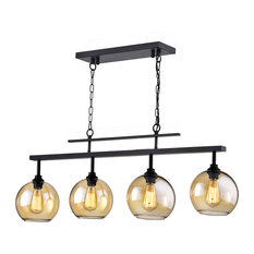 4-Light Antique Black Linear Kitchen Island Chandelier With Amber Glass Sconces