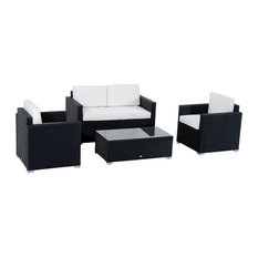 4-Piece Cushioned Outdoor Rattan Wicker Sofa Patio Furniture Set