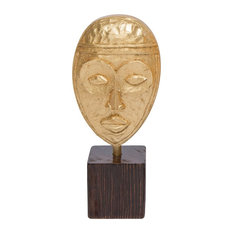 Golden African Mask Sculpture