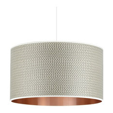 Grey Wood and Copper Pendant Lampshade, Without Accessories, 35 cm