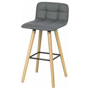 Consigned Bar Stool, Faux Leather Seat, 4 Rubber Wood Legs, Back and Footrest