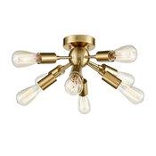 Antique Brass Sputnik Chandelier With 8 Socket Flush Mount Ceiling Light