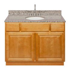 """Brown Bathroom Vanity 42"""", Burlywood Granite Top, Faucet LB7B"""