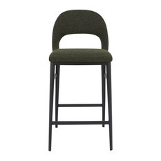 16.5-inchW Set Of 2 Counter Stool Cutout Green Velvet Black Steel Frame