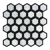 "12""x12"" Polished Italian Carrara Milano Marble Vortex Hexagon, Black, Set of 10"