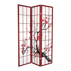 6' Tall Flower Blossom Divider, Rosewood, 3 Panels