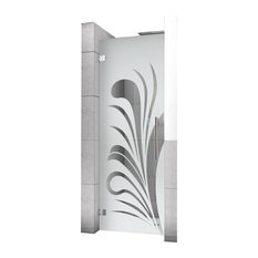 """Hinged Alcove Shower Door With Palm Leaf Design, Semi-Private, 24""""X75"""""""