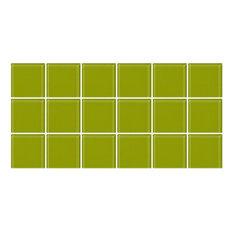 "6""x12"" Lime Green Glass Tile, Half Sheet, Grid"