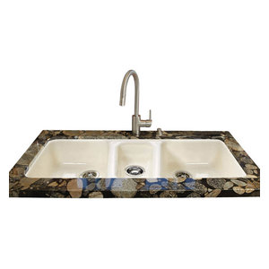 Triple Bowl - Easy installation No Hole Undermount, Biscuit