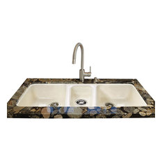 CECO - Triple Bowl - Easy installation No Hole Undermount, Biscuit - Kitchen Sinks