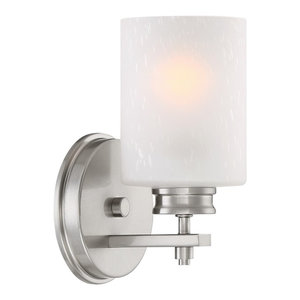 """Kira Home Phoebe 8"""" Modern Wall Sconce/Wall Light + Frosted Seeded Glass Shade,"""