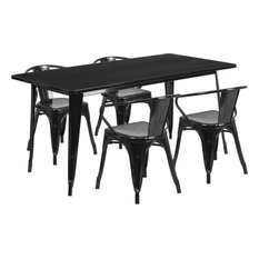 31.5''x63'' Rectangular Metal Indoor Table Set With 4 Arm Chairs Black