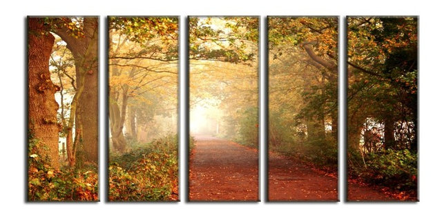 Framed huge canvas print 5 panel forest pathway leaves nature wall art decor