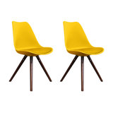 Scandi Style Dining Chair, Pyramid Walnut Legs, Yellow, Set of 2