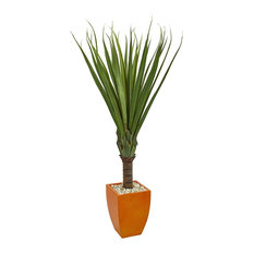 "5.5"" Spiky Agave Artificial Plant, Orange Planter"