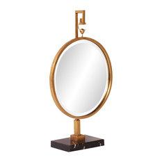 "Howard Elliott Medallion Mirror, Gold, 18""x30""x7"""