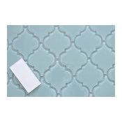 Jasper Blue Arabesque Glass Mosaic Tile, Sample