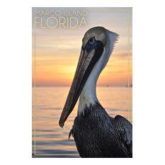"""Marco Island, Florida, Pelican"" Print, 24""x36"""