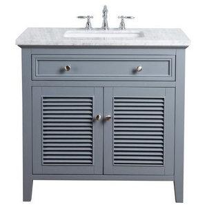 "36"" Genevieve Single Sink Vanity, Marble Carrara White Top, Slate Gray"