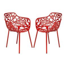Leisuremod Devon Aluminum Indoor Outdoor Patio Dining Armchair, Set of 2, Red