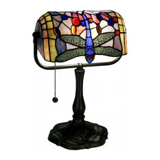 Ylona Indoor 1-Light Dragonfly Bronze Banker Desk Lamp