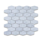 "12""x12"" Carrara White Elongated Hexagon Mosaic Polished, Chip Size: 1.25""x3"""
