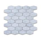 "12""x12"" Carrara White Elongated Hexagon Mosaic Polished, Chip Size: 1.25""x3"""