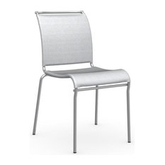 Calligaris   Air Chair, Satin Steel Frame, Synthetic Fabric Net Seat, Gray