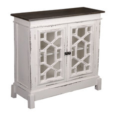 Sunset Trading Cottage Lattice Cabinet | Distressed White
