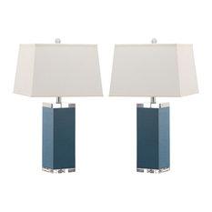 Safavieh Deco Leather Table Lamps, Set of 2, Light Blue