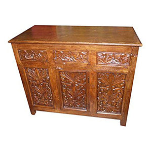 Mogul Interior - Antique 19c Sideboard Console Buffet Floral Carved Storage Chest India - Buffets And Sideboards