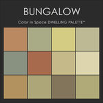 """Benjamin Moore® Paint - Color in Space Bungalow Palette™ --organic & calm - Each palette consists of twelve Benjamin Moore® paint colors in 4"""" swatches and no colors are repeated. The intentional selection of the twelve colors ensures that they are energetically balanced and will create the feeling of the dwelling for which it is named."""