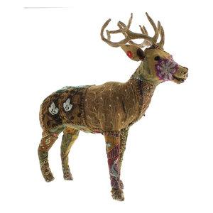 "Vintage Patchwork Sitting Deer Figure 25/""Brown Buck Stag Woodland Colorful"