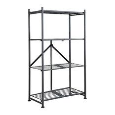 Gray Metal 4 Tier Shelf Folding Storage Home Office Bookcase