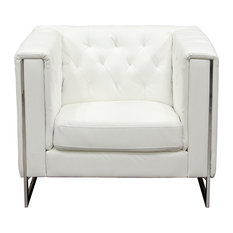 Chelsea Leatherette Chair With Metal Leg, White