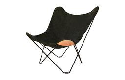 Cuero Design Canvas Mariposa Indoor Chair, Black, Black Frame