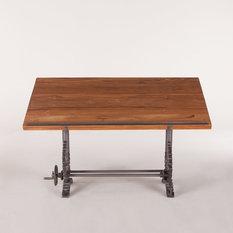 "63"" L Adjustable office desk drafting table hardwood teak top industrial design"