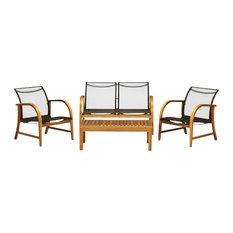 Manhattan 4-Piece Patio Deep Seating Set, Eucalyptus Wood