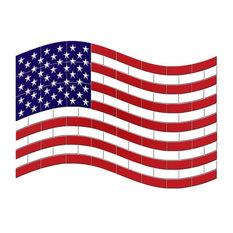"American Flag Ceramic Swimming Pool Mosaic 36""x26"""