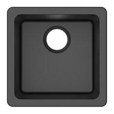 "Winpro Dual-Mount Kitchen Sink, Single Bowl, Granite Quartz, Black, 16.6"""