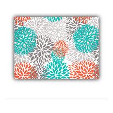 Bursting Blooms Orange Indoor/Outdoor Placemats, Finished Edge, Set of 2