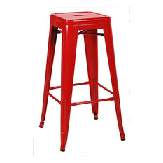 Set Of 2 Ajax 30-inch Contemporary Steel Tolix-Style Barstool - Red