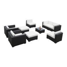 Outdoor Wicker Sofa 9-Piece Resin Couch Set