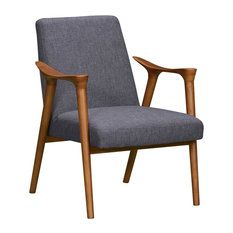 Nathan Mid-Century Accent Chair, Champagne Ash Wood Finish and Dark Gray Fabric by Armen Living