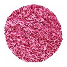 Shaggy Raggy Hot Pink Round Shag Rugs, Bubble Gum, 4'x4' Round