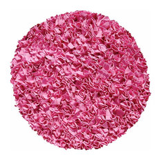 Shaggy Raggy Hot Pink Round Shag Rugs, Bubble Gum, 4'x4' Round